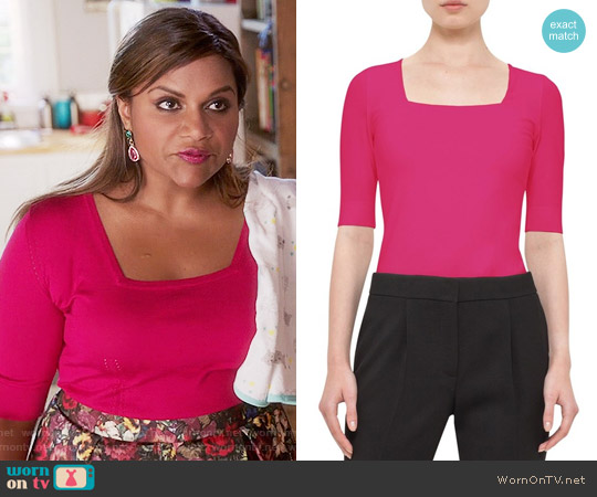 Akris Punto Half Sleeve Square Neck Tee in Pink worn by Mindy Kaling on The Mindy Project
