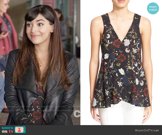 ALC Purcell Floral Top worn by Hannah Simone on New Girl