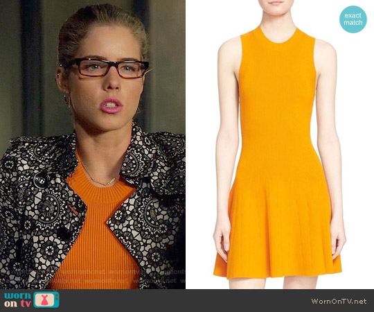 ALC 'Rory' Rib Knit Fit & Flare Dress worn by Emily Bett Rickards on Arrow