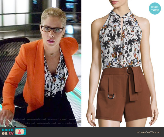 ALC Steele Passi Flora Silk Top worn by Felicity Smoak (Emily Bett Rickards) on Arrow