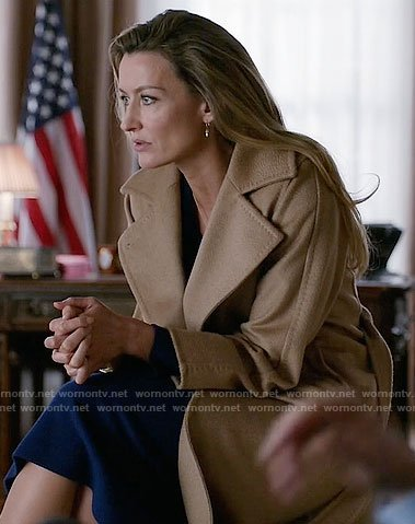 Alex's camel coat on Designated Survivor
