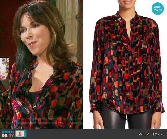 Alice + Olivia Eloise Blouse worn by Kate Roberts (Lauren Koslow) on Days of our Lives
