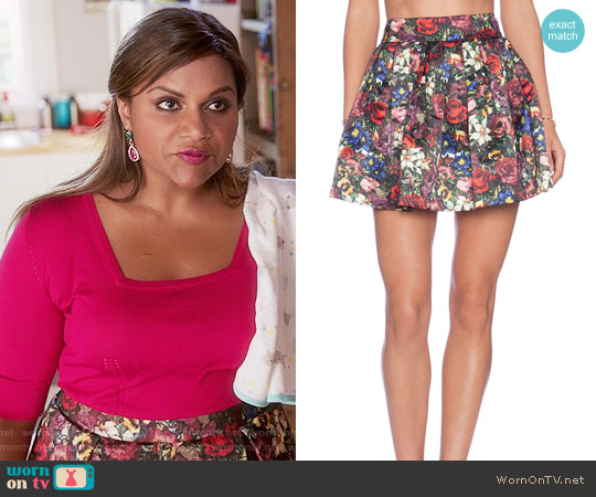 Alice + Olivia 'Fizer' Skirt in English Floral worn by Mindy Lahiri on The Mindy Project