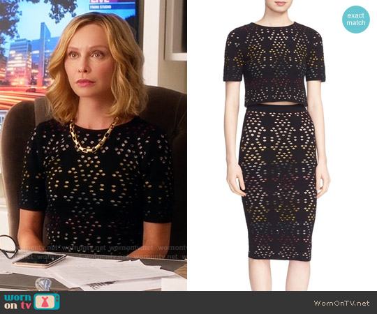 Alice & Olivia Ines Top and Ani Skirt worn by Calista Flockhart on Supergirl