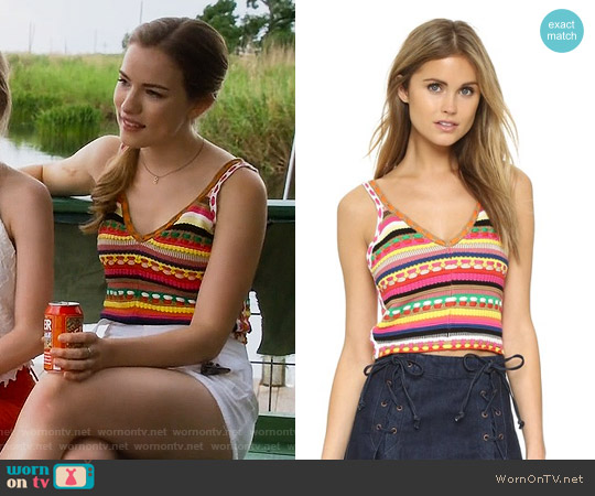 Alice + Olivia Sandrine Top worn by Willa Fitzgerald on Scream