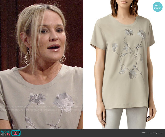 All Saints Nathalia Embroidered Tee worn by Sharon Case on The Young & the Restless