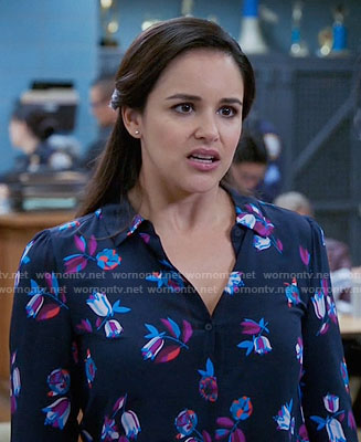 Amy's navy floral blouse on Brooklyn Nine-Nine