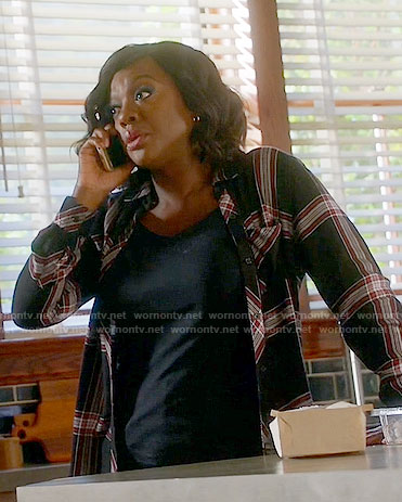 Annalise's black and red plaid shirt on How to Get Away with Murder