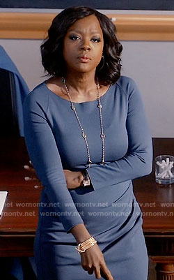 Annalise's blue long sleeve dress on How to Get Away with Murder