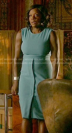 Annalise's blue split front dress on How to Get Away with Murder