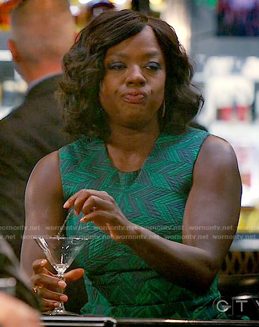 Annalise's green chevron patterned dress on How to Get Away with Murder