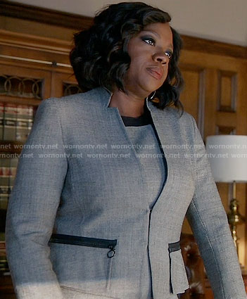 Annalise's grey jacket and dress with black trim on How to Get Away with Murder