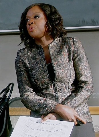 Annalise's textured jacket on How to Get Away with Murder