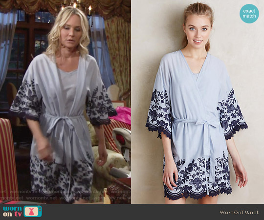 Anthropologie Anastasia Embroidered Robe worn by Sharon Case on The Young & the Restless