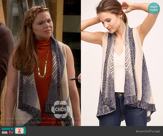Anthropologie Mabli Vest worn by Amanda Fuller on Last Man Standing