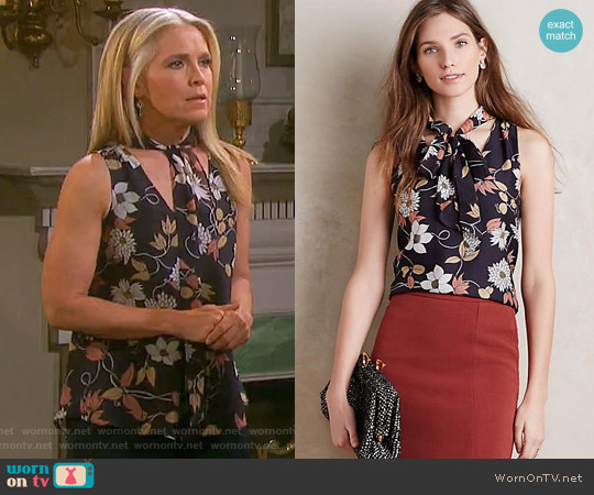 Anthropologie Petalsilk Tie-Neck Shell worn by Melissa Reeves on Days of our Lives
