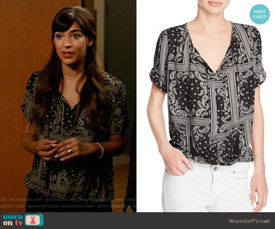 Aqua Bandana Print Top worn by Hannah Simone on New Girl