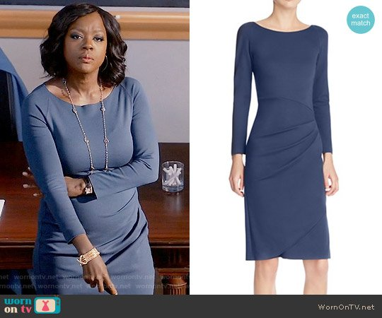 Armani Collezioni Faux Wrap Dress worn by Viola Davis on HTGAWM