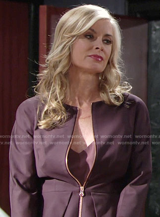 Ashley's purple peplum jacket on The Young and the Restless