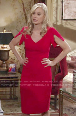 Ashley's red v-neck dress with split sleeves on The Young and the Restless