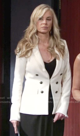 Ashley's white double breasted blazer on The Young and the Restless