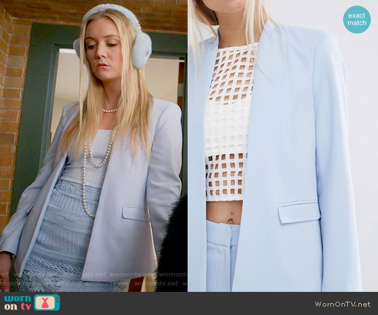 ASOS Structured Edge to Edge Blazer in Pretty Blue worn by Chanel #3 on Scream Queens