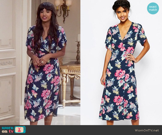 ASOS Floral Midi Tea Dress worn by Tahani Al-Jamil (Jameela Jamil) on The Good Place