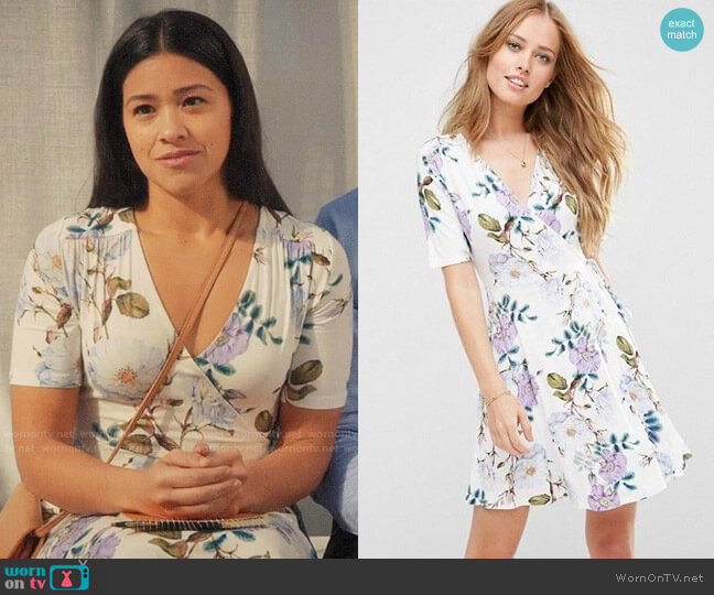 ASOS Wrap Skater Dress In Floral Print worn by Jane Villanueva (Gina Rodriguez) on Jane the Virgin