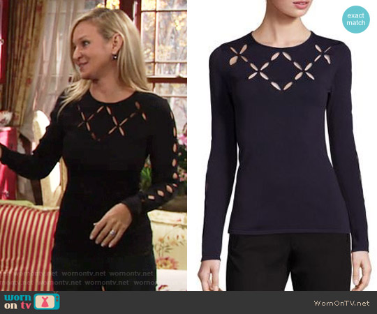 Bailey 44 'Mergers' Cross Cut Top in Navy worn by Sharon Case on The Young & the Restless