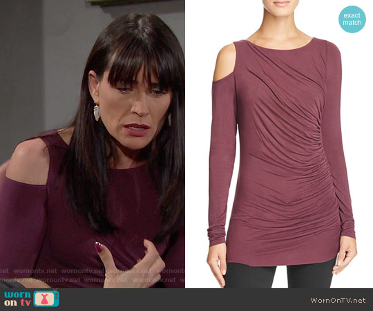 Bailey 44 Savy Cold Shoulder Top in Plum worn by Rena Sofer on The Bold & the Beautiful