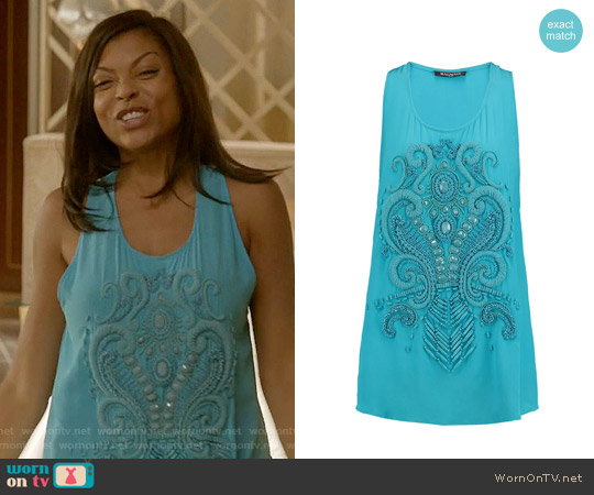 Balmain Embellished Silk-crepe Top worn by Taraji P. Henson on Empire