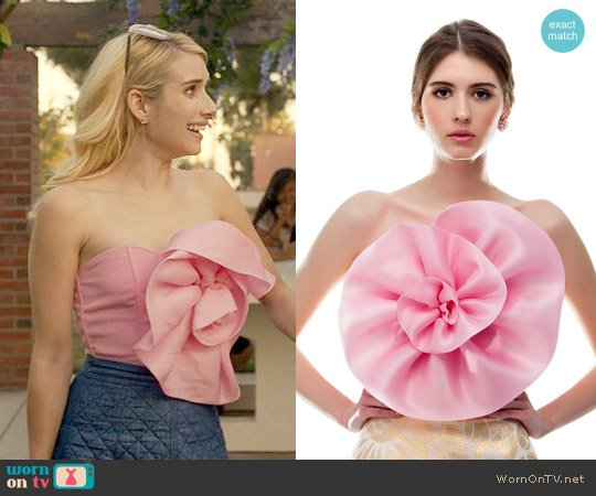Bambah Pink Organza Flower Tube worn by Emma Roberts on Scream Queens
