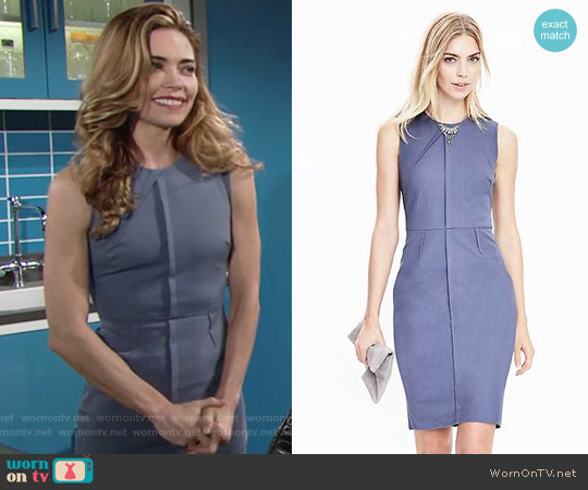 Banana Republic Bi-Stretch Dress in Blue worn by Amelia Heinle on The Young & the Restless