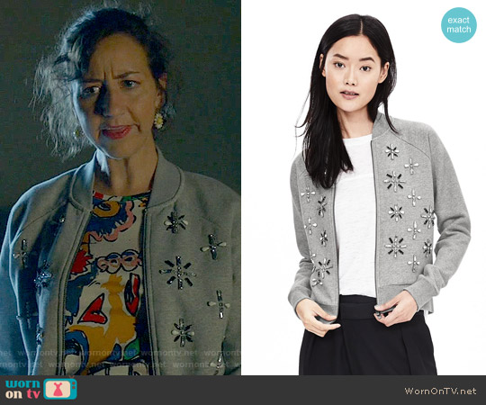 Banana Republic Embellished Bomber Jacket worn by Kristen Schaal on Last Man On Earth