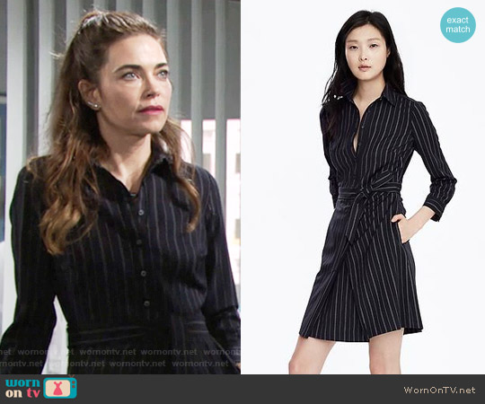 Banana Republic Pinstripe Tie Waist Shirtdress worn by Amelia Heinle on The Young & the Restless