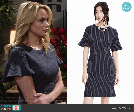 Banana  Republic Ponte Pinstripe Dress worn by Hunter King on The Young & the Restless