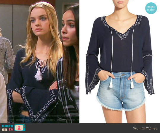 Band of Gypsies Embroidered Bell Sleeve Blouse worn by Claire Brady (Olivia Rose Keegan) on Days of our Lives