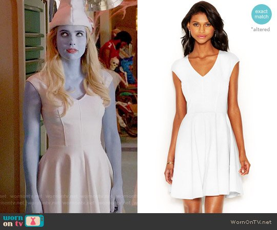Bar III Cap-Sleeve Fit & Flare Dress worn by Emma Roberts on Scream Queens