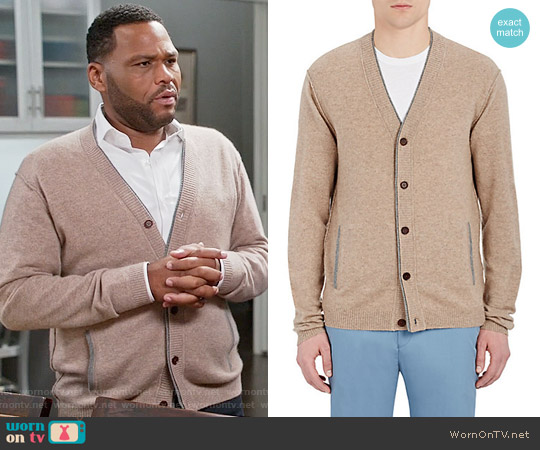 Barneys New York Cashmere V-Neck Cardigan worn by Anthony Anderson on Blackish