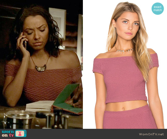 Bcbgeneration Off the Shoulder Crop Top worn by Kat Graham on The Vampire Diaries