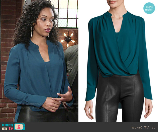 Bcbgmaxazria Jaklyn Blouse in Dark Teal worn by Mishael Morgan on The Young & the Restless