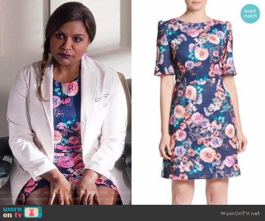 Betsey Johnson Floral A-Line Dress worn by Mindy Kaling on The Mindy Project