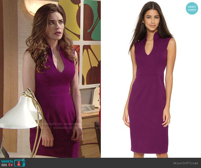 Black Halo Zara Sheath Dress in Iris worn by Victoria Newman (Amelia Heinle) on The Young & the Restless