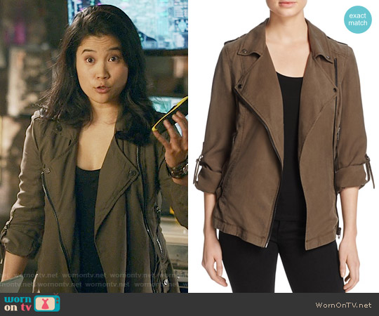 Blank NYC Woven Moto Jacket worn by Jadyn Wong on Scorpion