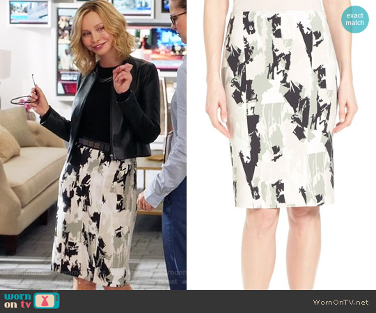 Boss 'Vepina' Print Pencil Skirt worn by Cat Grant (Calista Flockhart) on Supergirl