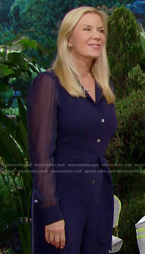 Brooke's blue sheer sleeved jumpsuit on The Bold and the Beautiful
