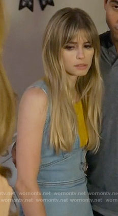 Brooke's denim plunge neck dress on Scream