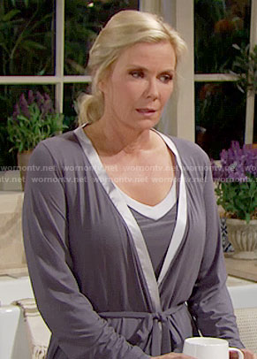 Brooke's grey satin trim top and robe on The Bold and the Beautiful