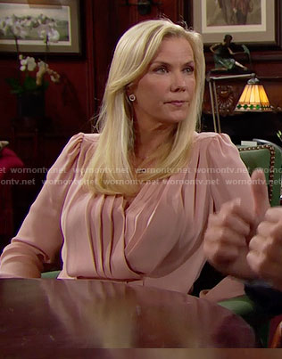 Brooke's pink pleated blouse on The Bold and the Beautiful