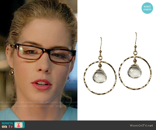 Brooklyn Designs Darcy Quartz Gold Earrings worn by Felicity Smoak on Arrow